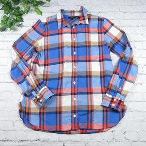 J Crew Classic Fit Boy Shirt Pacey Plaid Blue